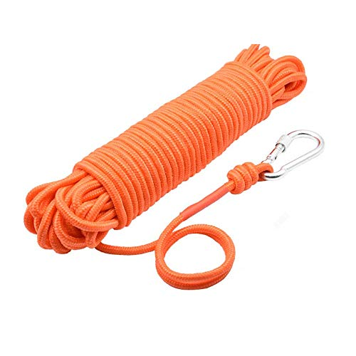"UTOMAG Magnet Fishing Nylon Rope with Carabiner, 65 Feet All Purpose High Strength Cord Safety Braid Rope - Good for Magnet Fishing - Diameter 6mm / 8mm - Approximately 1/4"" / 1/3"""