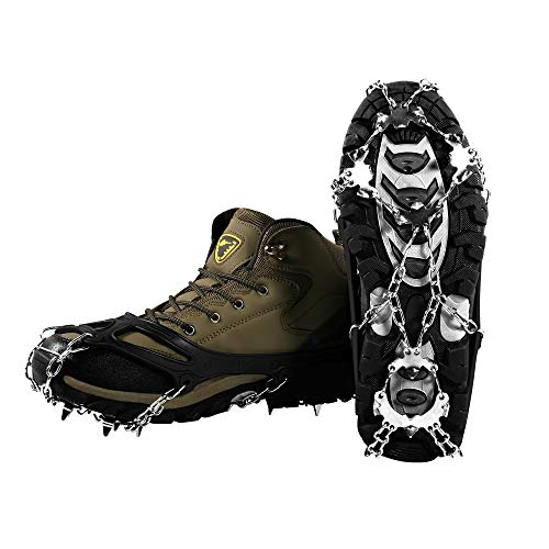 YOMYM Ice Crampons, Ice Cleats 19 Teeth Stainless Steel Chain Anti-Slip Snow Grips with 2 Straps Shoe Spikes Crampons for Winter Walking Ski Ice Climbing Mountain Boots
