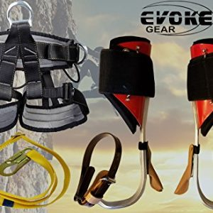 Evoke Gear Tree Climbing Spike Set Aluminum Pole Spurs Climbers with Pro Harness