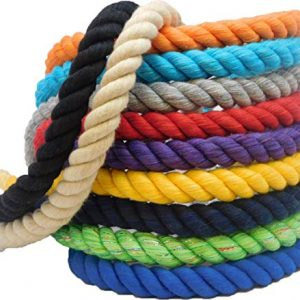 Ravenox Natural Twisted Cotton Rope | Made in The USA | Strong Triple-Strand Cordage for Sports, Décor, Pet Toys, Crafts, Macramé & Indoor Outdoor Use| by The Foot & Diameter (Multiple Colors)