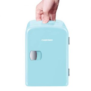 Chefman Mini Portable Compact Personal Fridge, Cools and Heats, 4 Liter Capacity, Chills 6 12oz cans, 100% Freon-Free and Eco Friendly, Includes Plugs for Home Outlet and 12V Car Charger - Blue