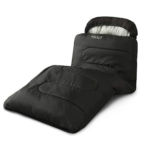"ASOUT Sleeping Bag for Adults and Kids - Portable, Comfort, Extra-Wide Car Camping, Hiking, Backpacking, Great for 4 Season Warm and Cold Weather(33""x87"")"