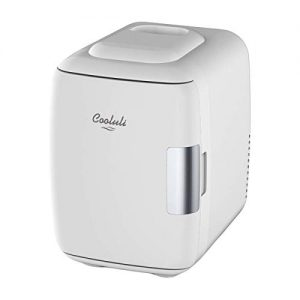 Cooluli Mini Fridge Electric Cooler and Warmer (4 Liter / 6 Can): AC/DC Portable Thermoelectric System w/ Exclusive On the Go USB Power Bank Option (White)