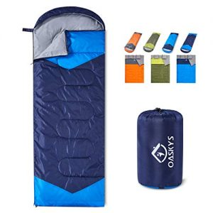 oaskys Camping Sleeping Bag - 3 Season Warm andCool Weather - Summer, Spring, Fall, Lightweight, Waterproof for Adults and Kids - Camping Gear Equipment, Traveling, and Outdoors.