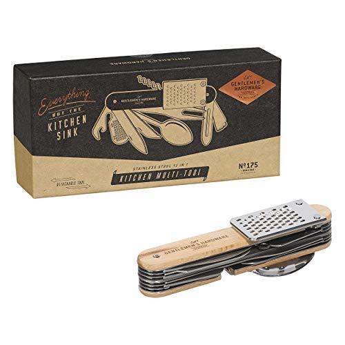 Gentlemen's Hardware 12-in-1 Detachable Kitchen Stainless Steel Multi Tool with Wood Handles