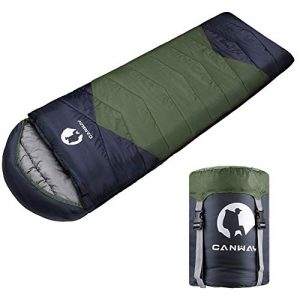 CANWAY Sleeping Bag with Compression Sack, Lightweight and Waterproof for Warm and Cold Weather, Comfort for 4 Seasons Camping/Traveling/Hiking/Backpacking, Adults and Kids