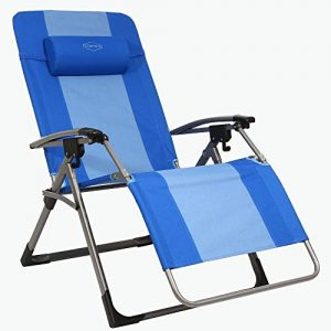 Kamp-Rite KAMPAC186 Outdoor Furniture Camping Beach Patio Sports Oversized Anti Gravity Folding Reclining Chair, Blue