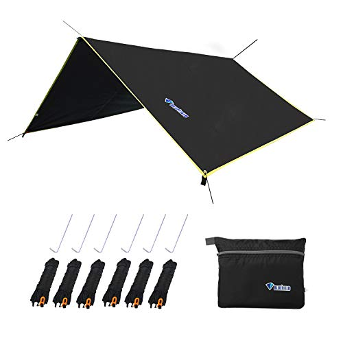 """LLY Lightweight Hammock Sun/Rain Tarp Shelter Shade Tent Tarp 10.6ft with Stakes and Ropes for Camping Backpacking Fishing (94"""" x 86"""" Black)"""