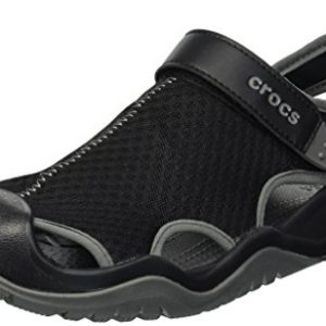 crocs Men's Swiftwater Mesh Deck Sandal Sport, Black, 13 M US