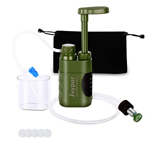 joypur Water Purifier Pump, 0.01 Micron 3-Stage Portable & Outdoor Water Filter for Camping, Hiking, Travel Abroad, Emergency, Backpacking, Survival with Replaceable Filter (Army Green)