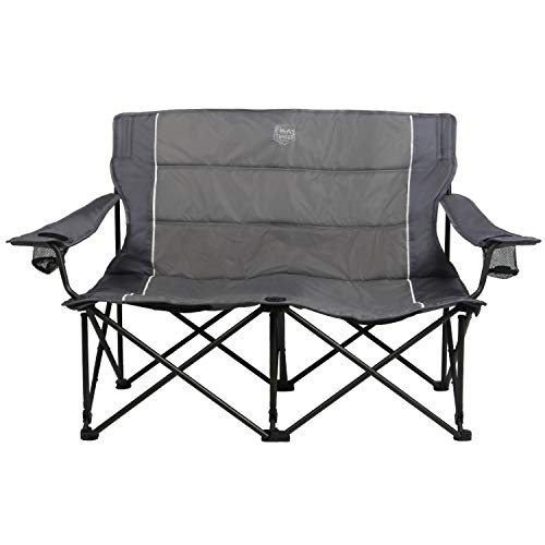 Timber Ridge Spruce Duo Loveseat Oversize Quad-Folding Camp Seat, Grey