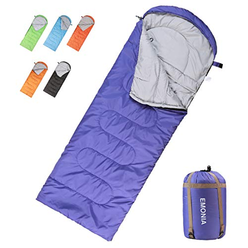 EMONIA Camping Sleeping Bag,3 Season Waterproof Outdoor Hiking Backpacking Sleeping Bag Perfect for Traveling,Lightweight Portable Envelope Sleeping Bags for Adults,Kids,Girls and Boys