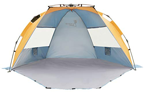 LINKE Beach Tent Sun Shelter, 4 Person Easy Setup Camping Sun Shade Canopy with Carry Bag, XL Size, Orange&Blue