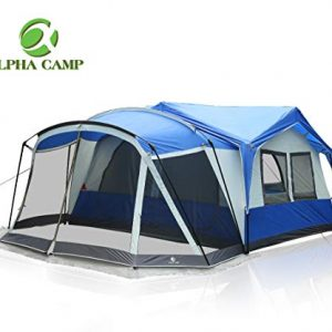 ALPHA CAMP 10-12 Person Family Camping Tent with Screen Room Cabin Tent Design - 19' x 12'