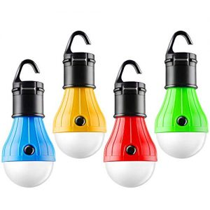 FLY2SKY Tent Lamp Portable LED Tent Light 4 Packs Hook Hurricane Emergency Lights LED Camping Light Bulb Camping Tent Lantern Bulb Camping Equipment for Camping Hiking Backpacking Fishing Outage