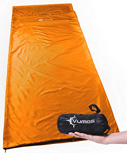 Vumos Sleeping Bag Liner and Camping Sheet - Silk Like Material for Travel - Has Full Length Zipper - Orange