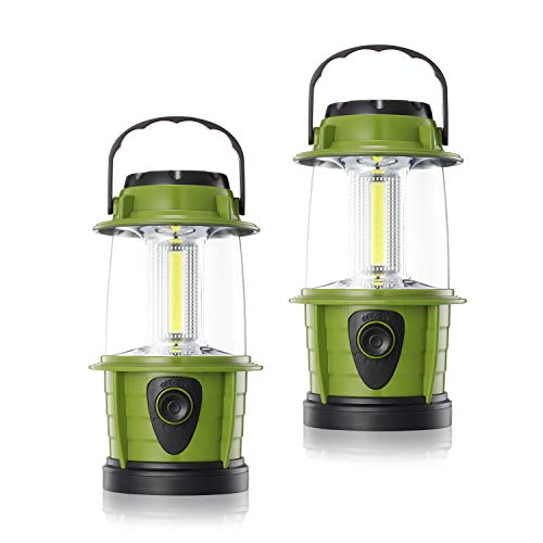 E-TRENDS Portable LED Camping Lantern Flashlight - Dimmable - Survival Kit for Emergency, Power Outage, Hurricane, Battery Powered, Green