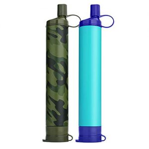 WakiWaki Portable Personal Water Filter, 3 Stage 1500L Backpacking Water Filter BPA Free Camping Accessories Survival Gear and Equipment for Hiking, Camping, Travel, and Emergency Preparedness