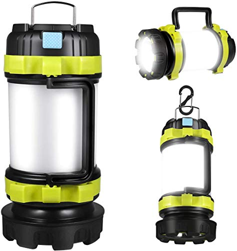 APLUSTE LED Camping Lantern, Rechargeable Portable Lantern Flashlight, 3600mAh Power Bank, Two Way Hook of Hanging, Perfect for Hurricane, Emergency Light, Outdoor Recreations, USB Cable Included.