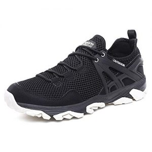 Idea Frames Men Hiking Shoes Lightweight Non-Slip Outdoor Sneaker for Walking Trekking Camping Trail Running Shoe Black/White