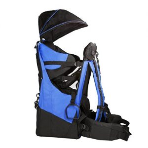 ClevrPlus Deluxe Baby Backpack Hiking Toddler Child Carrier Lightweight with Stand and Sun Shade Visor, Blue