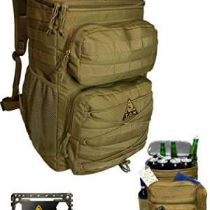 T.O.M Horizons Cooler Backpack, Tactical, Insulated. Heavy Duty, Extra Large for Hiking, Camping, Day Trips, Beach. Bonus, Credit Card Multi Tool Included