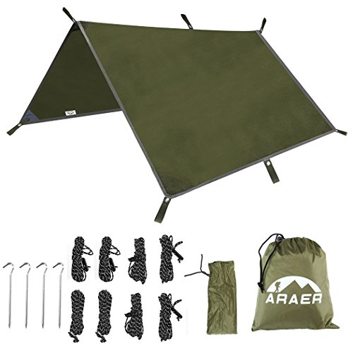 """ARAER Tent Tarp Hammock Rain Fly 114"""" x 114""""/9.5ft, 900g/1.98lbs, 2000PU Waterproof Windproof UV 50 Sunshade Essential Survival Camping Hiking Backpacking Cycling Gear, 4 Stakes 8 Ropes"""