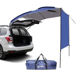 UBOWAY Awning Sun Shelter: Waterproof Auto Canopy Camper Trailer Tent Roof Top for SUV Minivan Hatchback Camping Outdoor Travel 5-6Persons