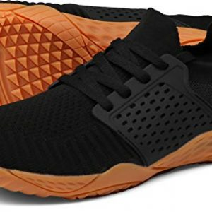 WHITIN Women's Low Zero Drop Shoes Minimalist Barefoot Trail Running Camping Size 7.5-8 Wide Toe Box for Female Lady Fitness Gym Workout Sneaker Tennis Lightweight Comfortable Black Gum 38