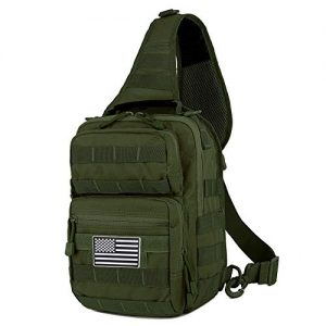 QT&QY Tactical Sling Bag For Men Small Military Rover Shoulder Backpack EDC Chest Pack Molle Assault Range Bag