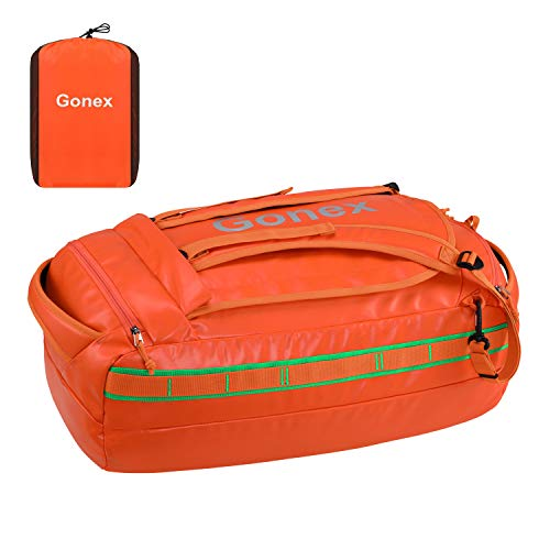 Gonex 60L Water Repellent Duffel Bag Backpack Outdoor Heavy Duty Duffle Bag with Backpack Straps for Hiking Camping Travelling Cycling for Men Women Orange