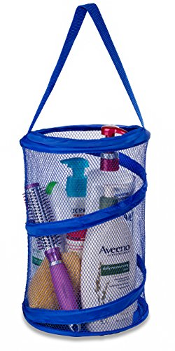 "Dorm Shower Caddy – 8"" X 12"" - Carry Your Personal Care Items Right Into the Shower. Great for College Dorm Life, Gyms, Camping and Travel. Folds Flat for Easy Storage When Not Needed. (Blue)"
