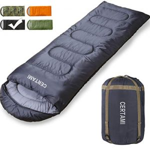 Sleeping Bag for Adults, Girls and Boys, Lightweight Waterproof Compact, Great for 4 Season Warm and Cold Weather, Perfect for Outdoor Backpacking, Camping, Hiking. (Dark Grey/Left Zip).