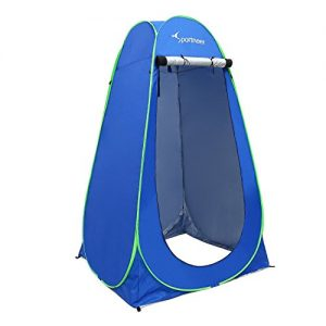 Sportneer Pop Up Camping Shower Tent, Portable Dressing Changing Room Privacy Shelter Tents for Outdoor Camping Beach Toilet and Indoor Photo Shoot with Carrying Bag, 6.25 ft Tall (Blue)