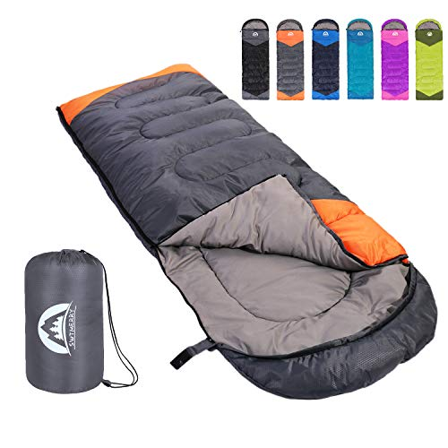 Sleeping Bag 3 Season Warm and Cool Weather - Summer, Spring, Fall, Lightweight,Waterproof Indoor and Outdoor Use for Kids, Teens and Adults for Hiking,Backpacking and Camping (Grey Orange, Single)