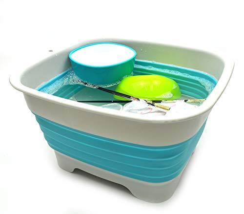 SAMMART 9.1L (2.4Gallon) Collapsible Dishpan with Draining Plug - Foldable Washing Basin - Portable Dish Washing Tub - Space Saving Kitchen Storage Tray (1, Grey/Brigt Blue)
