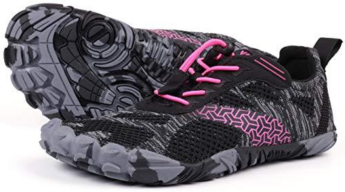 JOOMRA Women's Trail Running Minimal Shoes Camping Trekking Toes Ladies Hiking Glove Workout Treadmil Sneaker Barefoot Walking Footwear Red Size 11