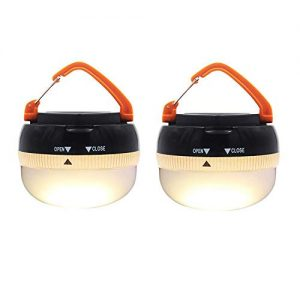 AuKvi Brightest LED Lantern Portable Camping Lights Outdoor Tent Light Hanging Camping Lamp with 5 Modes, Restractable Hook (2 Pack)