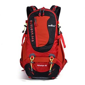 Hiking Backpack 40L Waterproof Outdoor Internal Frame Backpacks for Men and Women Travel Camping Climbing (DV2003-Red-New)