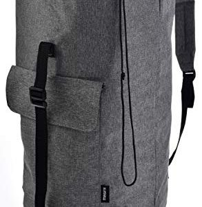 Backpack Camping Laundry Bag - Padded Adjustable Comfort Shoulder Straps, Front Pocket, Back Zippered Pocket, Drawstring Closure. Great for Laundry, Camping, Hiking, Travel or Sports Duffel Bag.