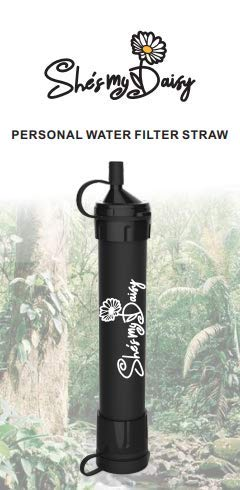 She's My Daisy - Personal Water Filter Straw | Survival Gear for Emergency Water Purification, Hiking, Camping, Travel | Drinking Filtration Equipment | Prepper Kit Essential | Portable Tactical Size