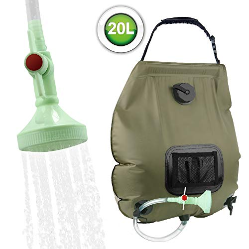 KIPIDA Solar Shower Bag, 5 gallons/20L Solar Heating Camping Shower Bag with Removable Hose and On-Off Switchable Shower Head for Camping Beach Swimming Outdoor Traveling Hiking (Green)