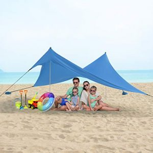 UBOWAY Beach Tent Sun Shade: Portable Pop Up Canopy Large Lightweight Camping Shelter for Family with Sand Anchor 7x7ft 10x10ft (Blue, M (7x7ft))