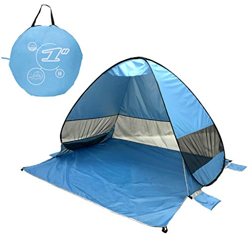 CapsA Tents for Camping Pop Up Beach Tent Sun Shelter Quick Instant Automatic Portable Sport Umbrella Baby Canopy Cabana Sun Shade Beach Tent Beach Shelter Cabana 2-3 Person (Blue)