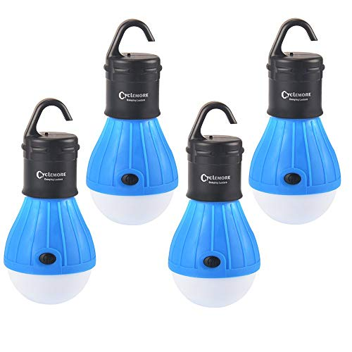 CycleMore 4 Pack Portable LED Tent Lamp Outdoor Flashlight Water Resistant Camping Lantern for Indoor and Outdoor,Camping,Hiking,Fishing,Decoration,Gift.(Batteries Not Included) (Blue)