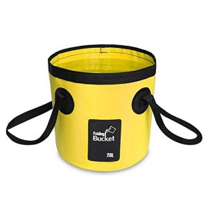 AINAAN Multifunctional Collapsible Portable Outdoor Basin Folding Bucket Water Storage Bag for Camping Hiking Travel Fishing Caravan Washing, 20L, Yellow
