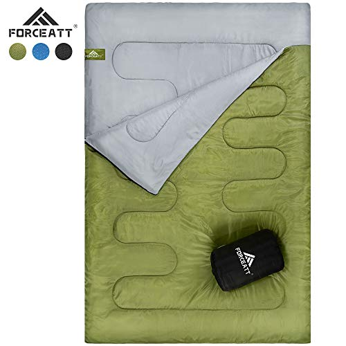 Forceatt Camping Sleeping Bag, Two-Person Waterproof Sleeping Bag, Suitable for Adults or Teenagers Indoor, Outdoor, Backpacking, Camping (Golden Brown)