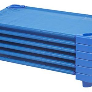 "ECR4Kids Toddler Naptime Cot, Stackable Daycare Sleeping Cot for Kids, 40"" L x 23"" W, Ready-to-Assemble, Blue (Set of 6)"