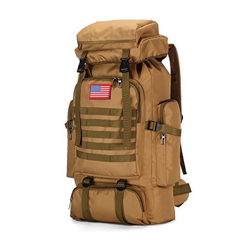 70l Hiking Backpack for Men Waterproof Military Camping Rucksack Travel Daypack (Khaki)