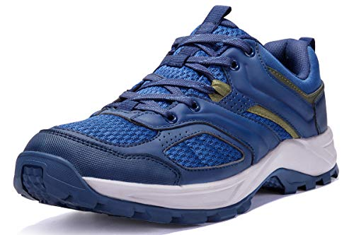 CAMEL CROWN Hiking Shoes for Men Tennis Trail Running Backpacking Walking Shoes Comfortable Slip Resistant Sneakers Lightweight Athletic Trekking Low Top Boot Blue 11D(M)